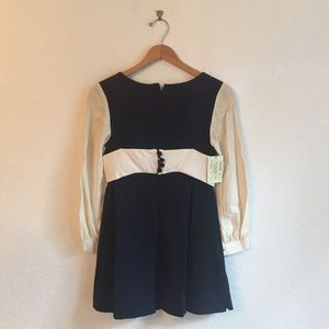 Vintage S crepe mod dress navy blue mini